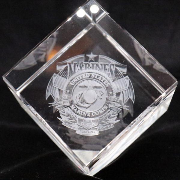 3D Corner Cut Crystal Cube